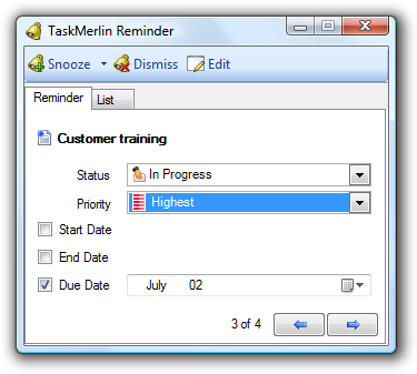 Task reminder pop-up